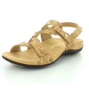 VIONIC Paros Gold Cork Sandals